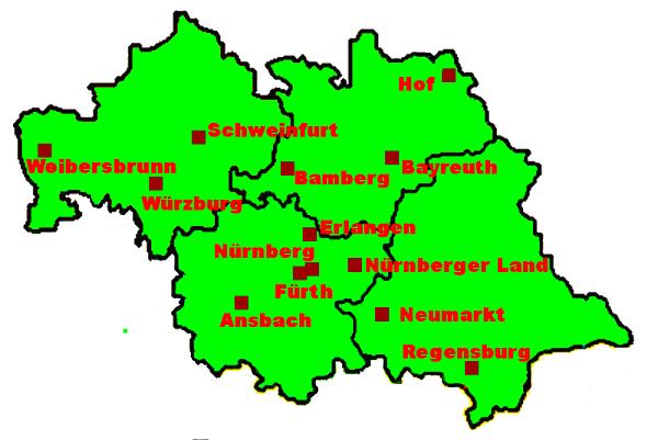 Landkarte Bezirk Nordbayern
